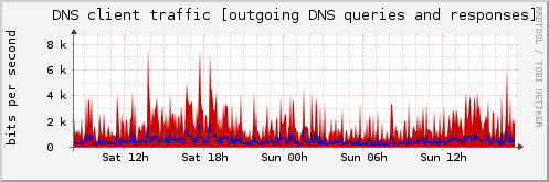 DNS client traffic [outgoing DNS queries and responses]